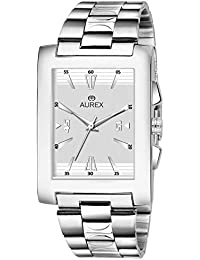387b8861d5f0 Aurex Analouge White Dial Watch Water Resistant Silver Color Strap Watches  for Mens Boys (
