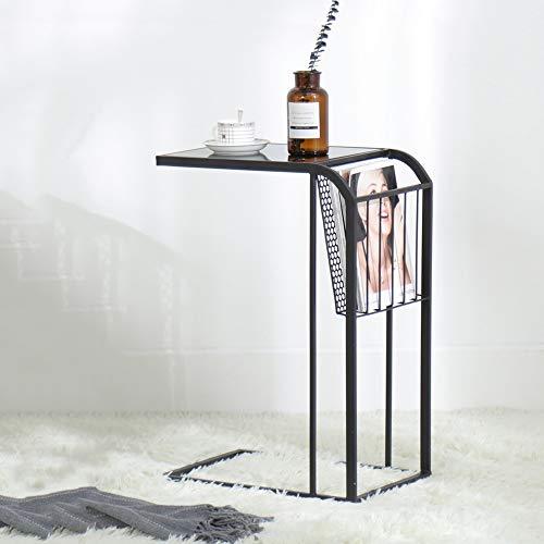 DEO Table d'extrémité Tables gigognes en verre Salon Côté canapé pour salon Chambre (Couleur : NOIR)