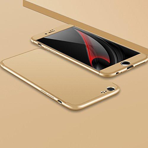 iPhone 6 6S Hülle, 3 in 1 Ultra Dünner PC Harte Case 360 Grad Ganzkörper Schützend Anti-Kratzer Schutzhülle Vollschutz Hülle für Apple iPhone 6 / 6S 4.7 zoll Fall Premium mattierte Schutzharte Komplet Gold