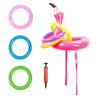 ZERHOK Inflatable Flamingo Hat, Inflatable Flamingo Head Toss Game with 6pcs Rings for Children Adults Hawaii Luau Summer Party Decor Swimming Pool Toy Family Reunion Water Fun