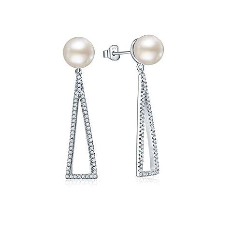 YH Jewelry Pearl Earrings,925 Sterling Silver Cubic Zirconia 8MM Pearl Drop Earrings,Dangle Triangle Earrings Jewellery for Women