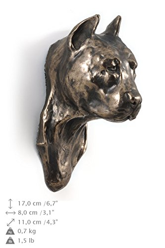 American Staffordshire Terrier (cropped), Hund, Bronze, Statue an der Wand, hängen, Limitierte Edition, Art Dog