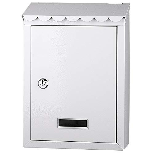 Bakaji cassetta postale da parete in acciaio inox buca lettere per posta da esterno con chiusura a chiave (bianco)
