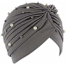 Fgyhtyjuu Pérdida de Las Mujeres Artificiales de la Perla de Pelo del Sombrero del Turbante cáncer