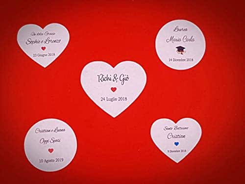 ArtigianeriA - Set di 20 (o più) ADESIVI personalizzati per BOMBONIERE fai da te. Realizzati in Italia. Ideali per Battesimo, Prima Comunione, Cresima, Matrimonio, Laurea, Compleanno, Anniversario.