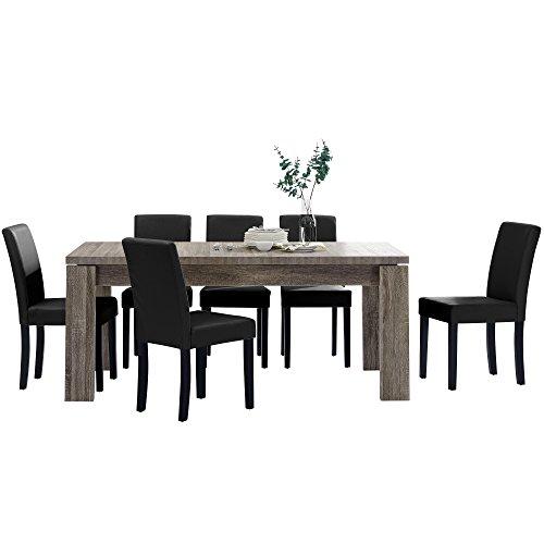 [en.casa] Esstisch und Stuhlset \'Helsinki\' (Antik - 170x79cm) 6 Stühle (Gepolstert - Schwarz) - im Sparpaket