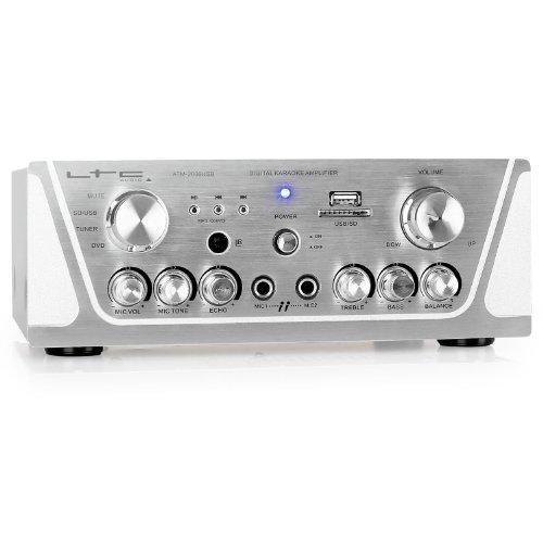 Imagen 1 de LTC Audio ATM 2000 USB - Amplificador stereo karaoke (USB, 2 x MIC, 3 x LINE, incluye mando a distancia), plateado