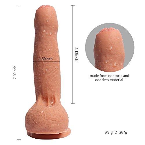 Double Layered Dildo Hyper Realistische Dual Layer Silikon 18 cm Real Dong Penis mit Kostenloser Kosmetiktasche Haut - 2