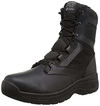 Timberland PRO Men's 8 Inch Valor Soft Toe Side Zip Work Boot Black Smooth Leather Ballistic Nylon 8.5 D(M) US