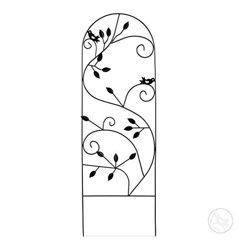 Relaxdays Grigliato da Giardino con Uccellini Metallo per Piante Rampicanti 120x40 Colore Nero