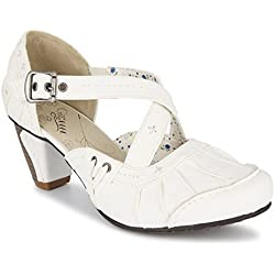 Damen Pumps Riemchenpumps Schuhe Dame 127 (36, Weiß)