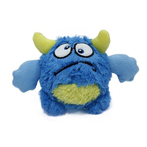 Toypalace24 Quietschball für Hunde im lustigen Monster-Hundeball-Design/Weiches Wurfspielzeug zum apportieren für große & kleine Hunde/Farbe: Blau 1 / Größe nach Wahl