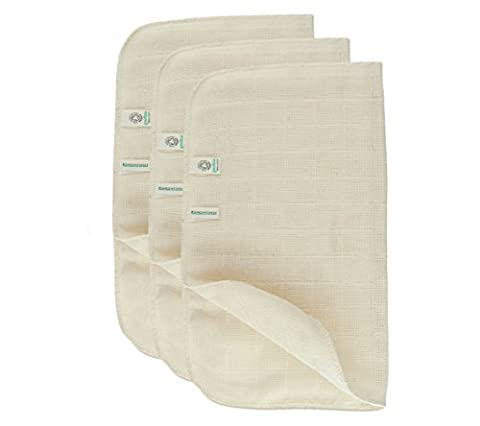 Green Fibres Set of 3 Organic Cotton Muslin Face Cloth