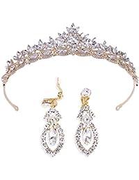 Brinote novia corona y tiaras con pendiente de hoja reina cristal diademas vintage accesorios para el cabello nupcial conjunto de joyas para mujeres y niñas (oro)