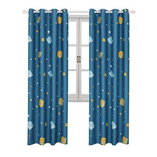 Bgment tende stampa blu pianeta 2 pannelli con occhielli tenda stelle a drappeggio per la stanza dei bambini(2 x 117 x 228cm(l×a),blu pianeta)