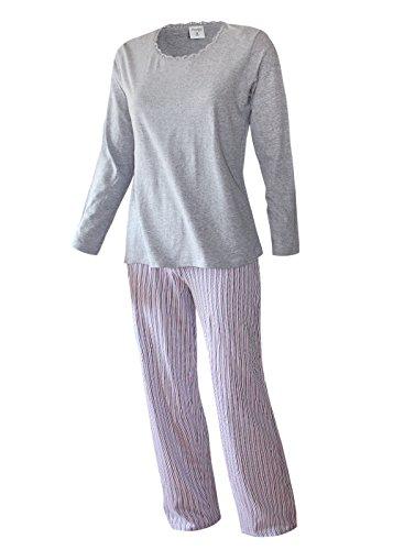 Pyjama Damen lang Damen Schlafanzug lang aus 100% Baumwolle oberteil graumelange / hose streifendruck