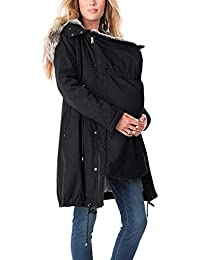 Mujeres Embarazadas Outwear - Color Sólido Chaqueta con Capucha Manga Larga Abrigo de Maternidad Cremallera Ropa de Mujer Embarazada S-XXXL