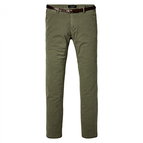 Scotch & Soda Herren Hosen Classic Garment Dyed Chino Pant in Stretch Cotton Quality Sage