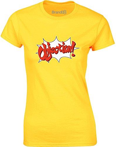 Brand88 - Objection, Gedruckt Frauen T-Shirt Gänseblümchen-Gelb