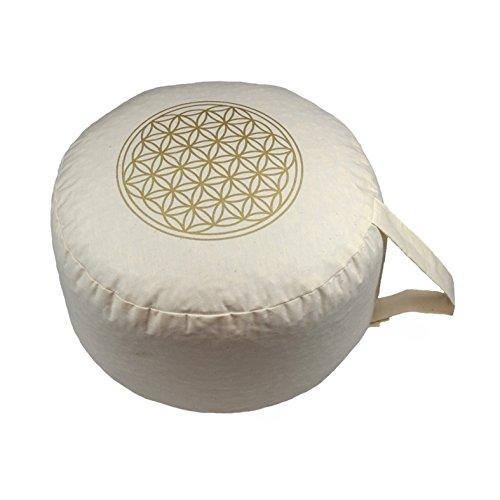 """Herbalind AZ6655 Yogakissen/Meditationskissen\""""Blume des Lebens\"""", beige"""