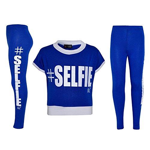 (Mädchen Top Kinder #Selfie Aufdruck Designer T-Shirt Top & Mode Legging Satz Alter 7 8 9 10 11 12 13 Jahre)
