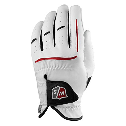 Wilson Staff Men's Golf Glove, Cabretta leather, Size: L, Left hand, Men's Left Hand, White, Grip Plus, WGJA00910L