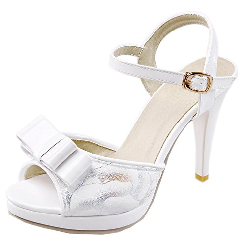 ENMAYER in materiale morbido da donna, con fibbia e Peep Toe, tacco alto Bianco (bianco)