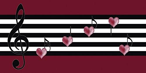 Artland-Poster-Kunstdruck-oder-Leinwand-Bild-Wandbild-fertig-aufgespannt-auf-Keilrahmen-Claudia-Burlager-Notenspiel-mit-Herz-Musik-Symbole-Notenschlssel-Digitale-Kunst-schwarz-wei