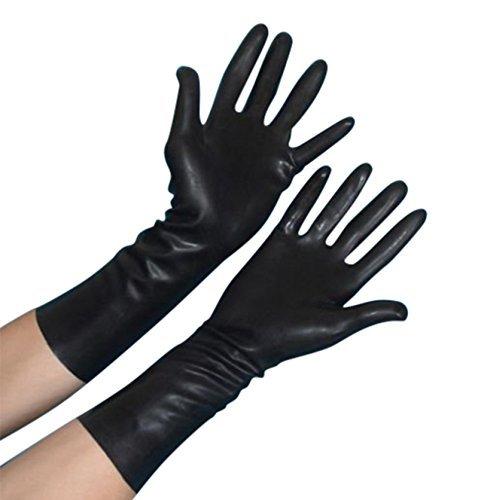 Latex schwarz Gum Tight Handschuhe Hände Gummi Fancy Kleid Halloween Horror Wissenschaftler Zubehör