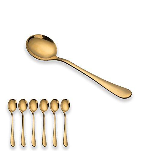 BERGLANDER Cuillère à soupe en acier inoxydable enduite de titane or, cuillère à soupe dorée, cuillère ronde de 6