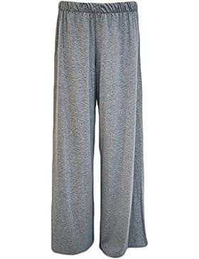 Tamaño de la Plus para mujer Plain patas de madera de Palazzo amplia acampanado pantalones de mujer pantalones...