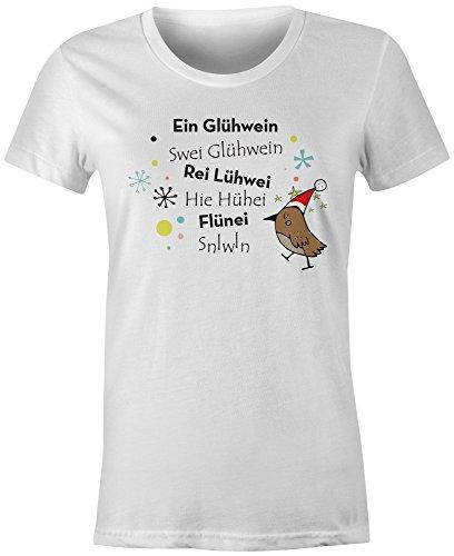 Ein Gluehwein ★ Rundhals-T-Shirt Frauen-Damen ★ hochwertig bedruckt mit lustigem Spruch ★ Die perfekte Geschenk-Idee (02) weiss
