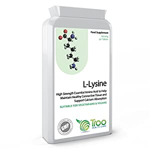 41NISH5oeGL. SS300  - L-Lysine Supplement (1000mg) - 90 Tablets - UK Manufactured to GMP Standards