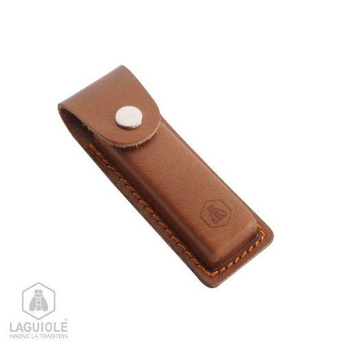 Laguiole | Taschenmesseretui | Lederetui | Etui | Kellnermesser | Taschenmesser | Echtleder | mit Gürtelschlaufe | mit Druckknopf | Braun