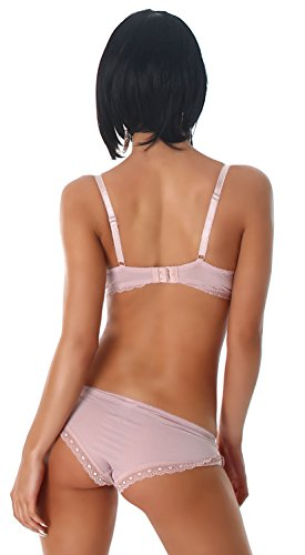 Fleur Papillon Damen Push-Up Dessous Set Bügel-BH & Slip - 4