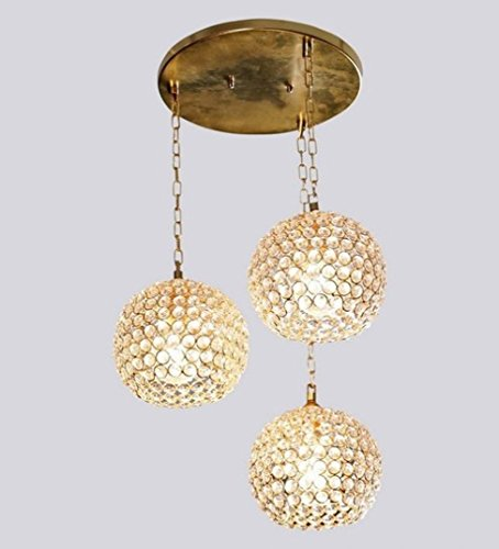 The Brighter Side golden crystal hanging light- set of 3 for living room and home decor