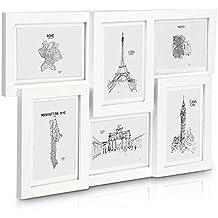 Marcos Multifotos - MADERA SÓLIDA - Collage de 6 Marcos - Para Fotos de 13 x 18 cm o 10 x 15 cm Con Paspartú - ¡Grosor del Marco 2 cm! - Blanco