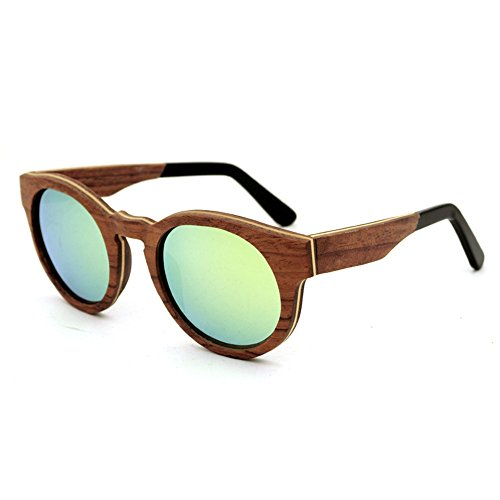Einfache Brille Retro-Stil runde Form handgemachte Holz umrandeten Sonnenbrille farbige Linse UV400 Schutz für Männer Frauen (Farbe : Gold)