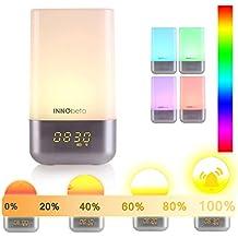 Lumière de Réveil, Eveil Lumière, simulation du lever soleil, 256 multicolore RGB LED, 5 nature sonneries de réveil, contrôle tactile, réveil lumineux, lampe de chevet, USB lampe d'ambiance -InnoBeta WakieWell