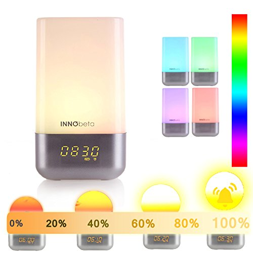 Luces despertador, WakieWell wake up light con Simulación de la salida del sol, despertador de 5 sonidos naturales, control táctil, lámpara de luz LED regulable que cambia de color, USB luz ambiental-InnoBeta