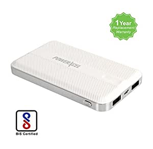 PowerXcel RBB042PX 10000 mAh Ultra Slim Power Bank - White with Lithium Polymer Battery compatible for Mobile, Tablet, iPad with 1 Year Replacement Warranty