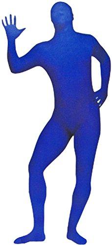Anzug Kostüm Geld (Spaßiges Blaues Ganz-Körper Outfit Suit Kostüme Größe 52/54 Overall Blue-Man Slim Fit Verkleidung Kostüm Fasching Karneval Motto-Party)