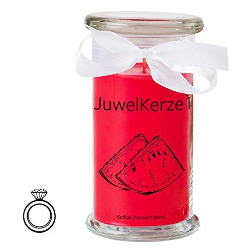 assermelone - Kerze im Glas mit Schmuck - Große rote Duftkerze mit Überraschung als Geschenk für Sie (Silber Ring, Brenndauer: 90-120 Stunden)(M) ()
