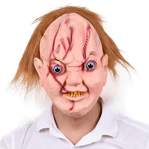 LLCOFFGA Halloween Scary Gesichtsmaske Ghost Doll Maske Whole Devil Perücke Männlich Halloween Make Up Party Festival Kostüm Maskerade Bar Party Latex Kopfbedeckung (Scary Doll Kostüm)