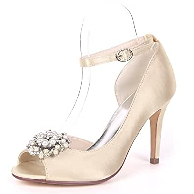 Immagine non disponibile. Immagine non disponibile per. Colore  L YC Scarpe  da Sposa Perline da Sposa per Donna. DéColleté in Raso con c89cae30cd7