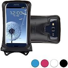 Funda universal sumergible DiCAPac WP-C1 para smartphones de Xiaomi Mi 2a / Mi 3 / Mi4 / Mi4 LTE / Mi 4i en Negro (Sistema de sujeción con velcro doble; protección certificada bajo el agua IPX8 hasta 10 m de profundidad; flotadores incorporados que protegen y sirven para flotar; objetivo Super Clear de policarbonato; asa para el cuello incluida)