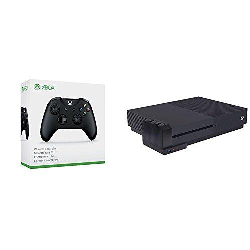 Xbox Wireless Controller Schwarz + AmazonBasics - Ladegerät für Controller-Akkus (für die Xbox One S), Schwarz