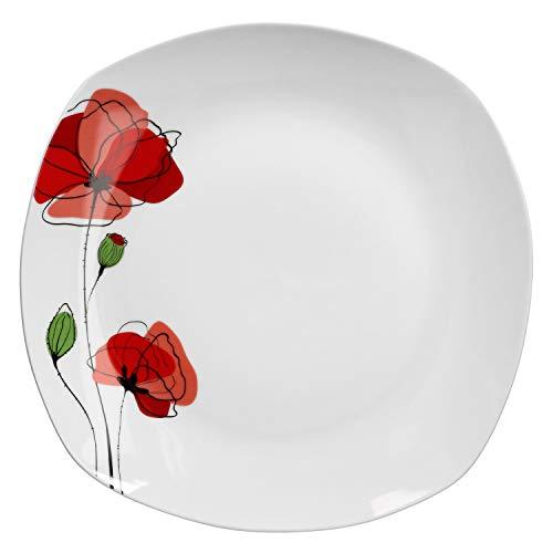 Van Well XL-Buffetplatte Monika 285 x 285 mm | quadratischer Servier-Teller | Essteller groß | Abstraktes Design | Porzellan-Geschirr | Gastronomie