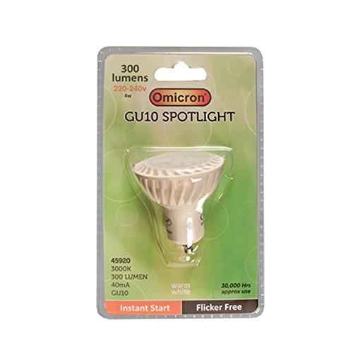 Omicron 45920 Ampoule GU10 LED 4 W 1 Omicron pour spot Basse consommation 3000 K Blanc
