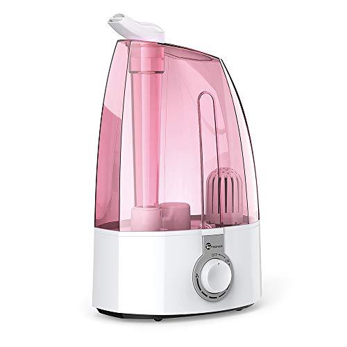 TaoTronics Humidificador Ultrasónico 3,5L Humidificador Bebé de Vapor Frío, Control Clásico Dial, 30W, Gran Capacidad, Filtro Extra de cerámica Fina, 360° rotativo, Rosa